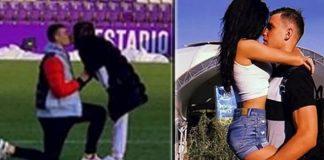 Lunin pide matrimonio a su novia en el Estadio José Zorrilla