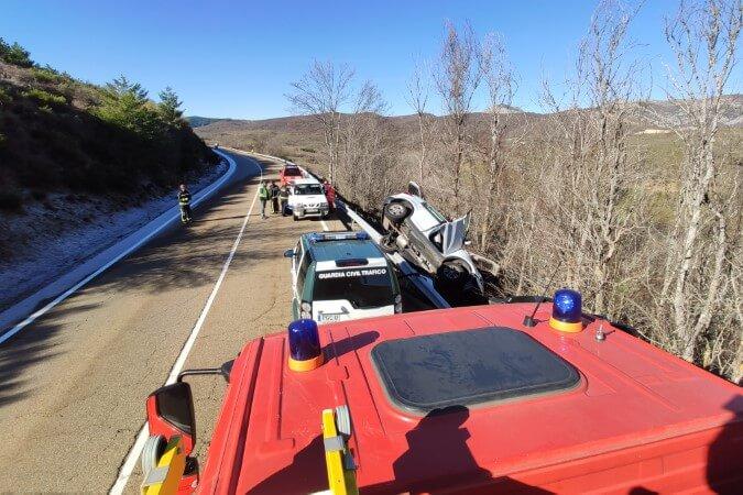 accidente de tráfico Carrocera Bomberos de León