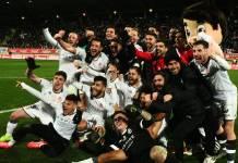 Celebración de la victoria en Copa del rey ante el Atlético de Madrid