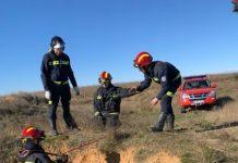 Motorista rescatado por los Bomberos de León en Cubillas de los Oteros