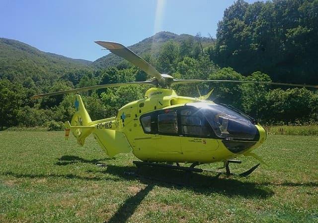 trasladado en helicóptero del 112