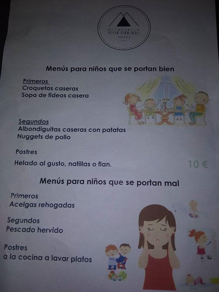 Humillan a los niños con un menú infantil