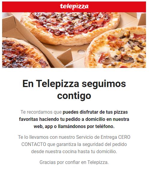 Telepizza continua repartiendo pizza a domicilio