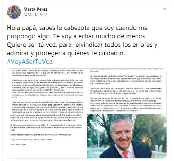 Carta de la hija de un médico fallecido que pone en evidencia a Sánchez