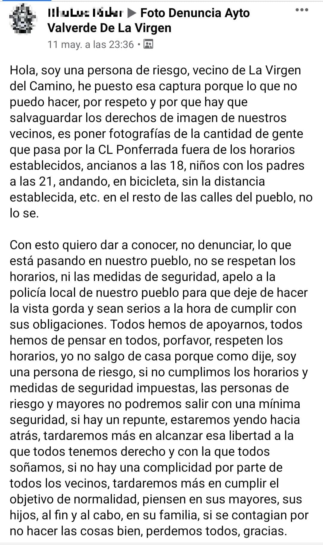 Tremenda queja de este vecino de Valverde de la Virgen