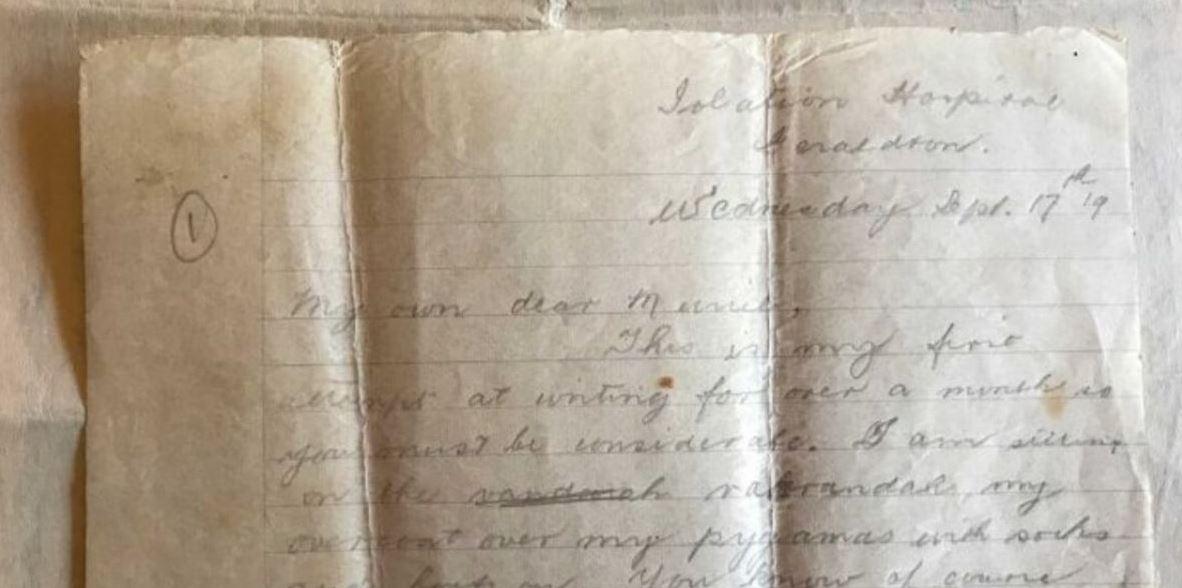 carta bisabuelo en cuarentena por la gripe española