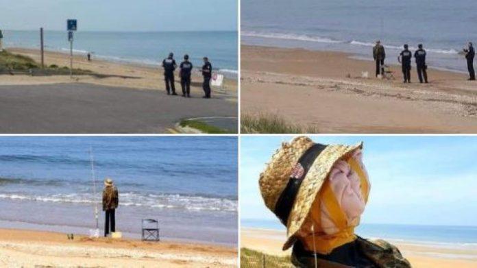 policia desescalada broma hombre pescando