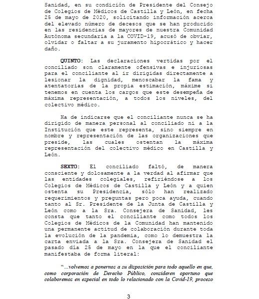 Demanda presidente Consejo de Colegios Oficiales de Médicos de Castilla y León
