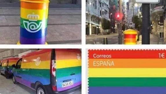 La nueva campaña de Correos con los buzones LGTBIde colores.