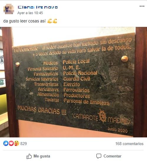 Distinguido homenaje del Camarote Madrid tras la pandemia