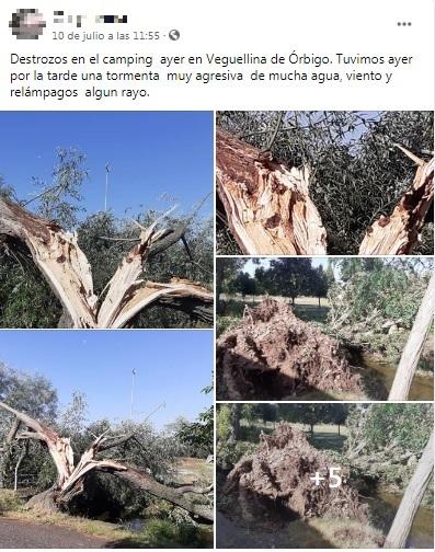 Destrozos en el camping de Veguellina de Órbigo