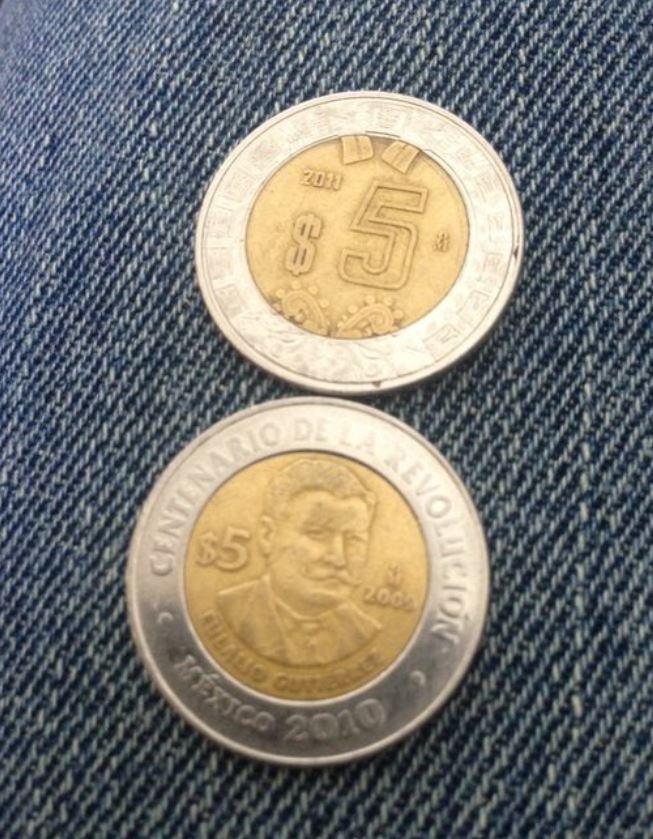 5 pesos mexicanos parecidos a las monedas de dos euros