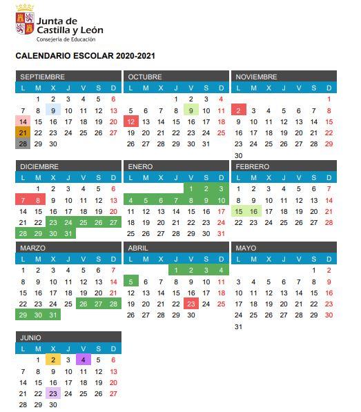 calendario escolar 2020-2021 león