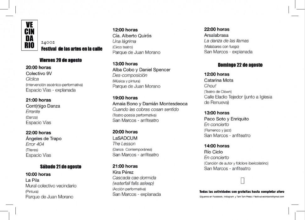 programa festival vecindario leon-Digital de León