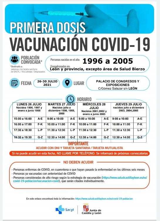 llamamiento primeras dosis vacuna leon